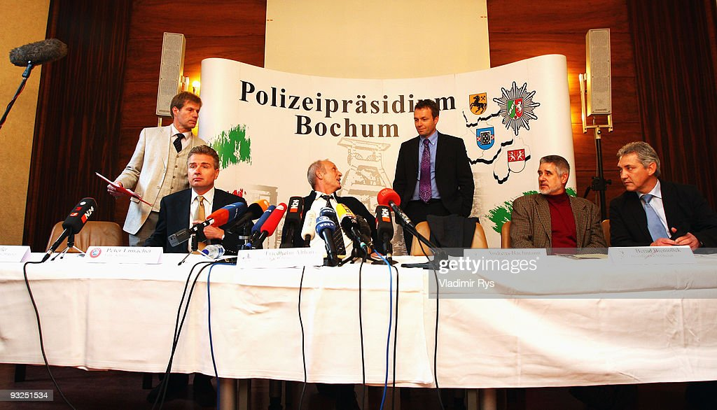 Members of Bochum police department and UEFA attend a press conference to present the results of an investigation into allegations of matchfixing in...