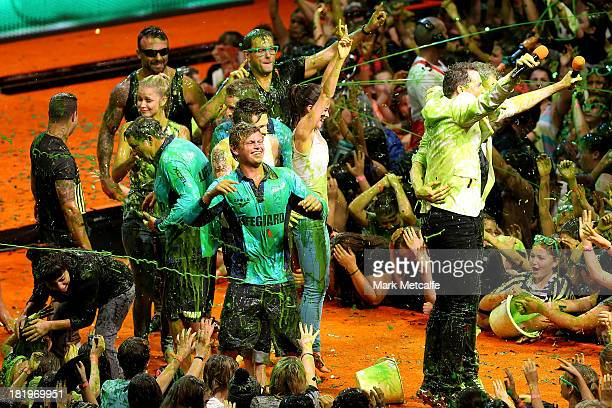 Members of Bondi Rescue get slimed during the Nickelodeon Slimefest 2013 matinee show at Sydney Olympic Park Sports Centre on September 27 2013 in...