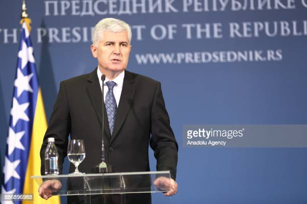 Members of Bosnia and Herzegovina's tripartite Presidency Dragan Covic Bakir Izetbegovic and Mladen Ivanic hold a joint press conference with Serbian...