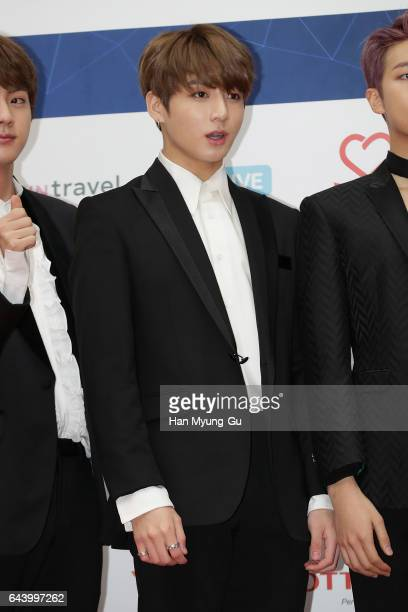 Members of boy band BTS attend the 6th Gaon Chart KPop Awards on February 22 2017 in Seoul South Korea