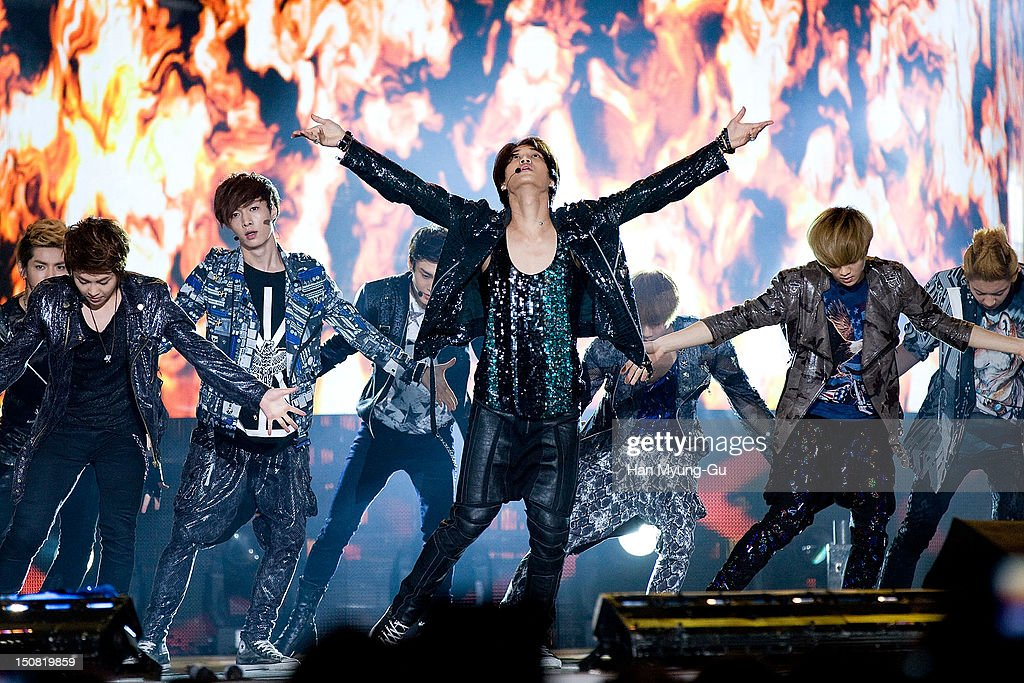 Members of boy band EXO-K and EXO-M perform onstage during the KBS Korea-China Music Festival on August 25, 2012 in Yeosu, South Korea.