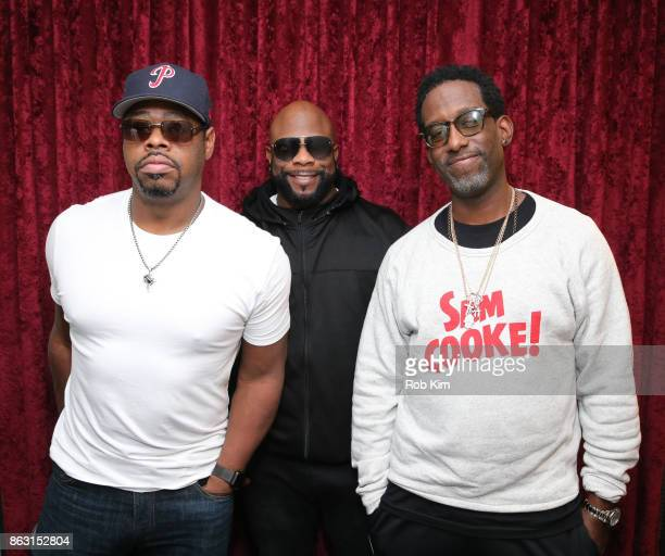 Members of Boyz II Men Nathan Morris Wanya Morris and Shawn Stockman visit at SiriusXM Studios on October 19 2017 in New York City