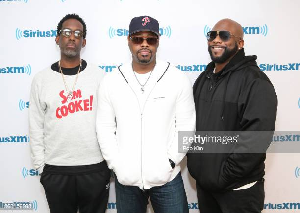 Members of Boyz II Men Shawn Stockman Nathan Morris and Wanya Morris visit at SiriusXM Studios on October 19 2017 in New York City