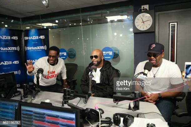 Members of Boyz II Men Shawn Stockman Wanya Morris and Nathan Morris visit 'Sway in the Morning' at SiriusXM Studios on October 19 2017 in New York...