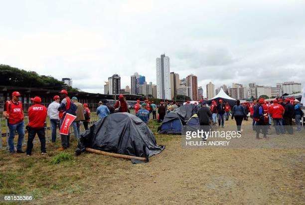 Members of Brazilian social movements and unions camp in Curitiba southern Brazil in support of Brazil's former president Luiz Inacio Lula da Silva...