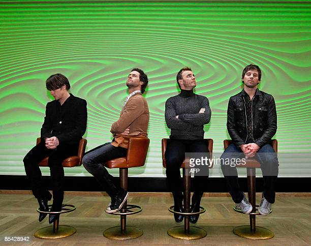 Members of British boys band Take That Mark Owen Howard Donald Gary Barlow and Jason Orange pose on March 14 2009 in a hotel of Amsterdam The band...