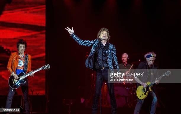 Members of British rock band The Rolling Stones British guitarist Ronald David Wood aka Ronnie Wood British singer songwriter multiinstrumentalist...