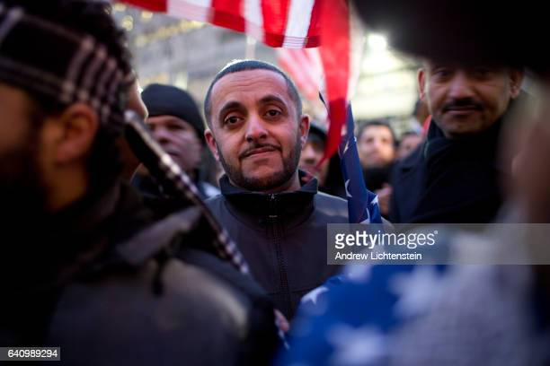 Members of Brooklyn's Yemeni community hold a rally on the steps of Borough Hall to protest President Trumps's executive order barring immigration...