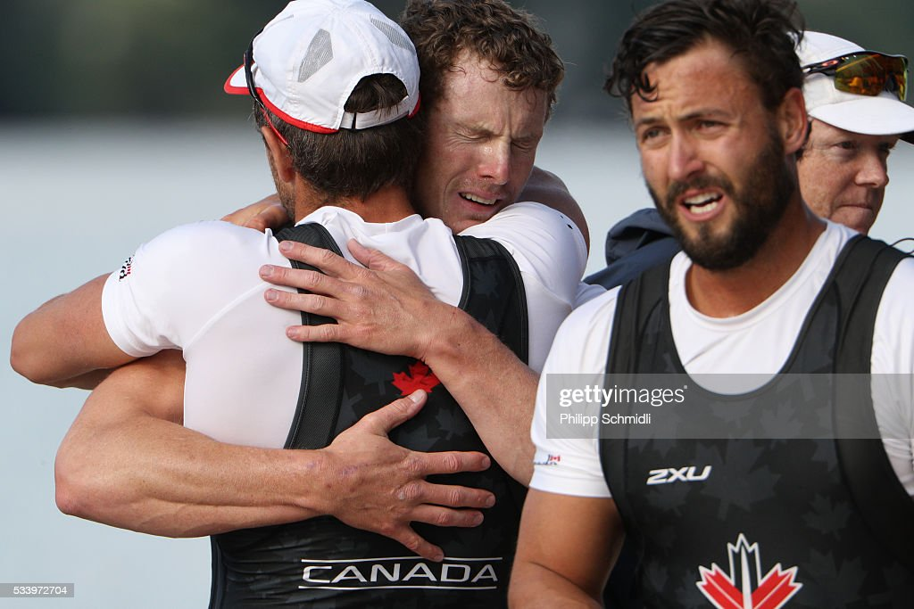 Members of Canadas Men's Quadruple Sculls team celebrate after qualifying for the 2016 Summer Olympic Games in Rio during Day 3 of the 2016 FISA European And Final Olympic Qualification Regatta at Rotsee on May 24, 2016 in Lucerne, Switzerland.