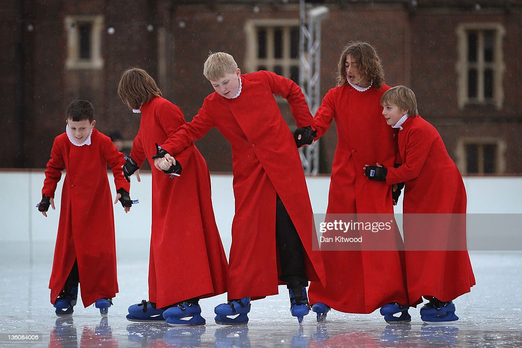 Members of Chapel Royal Choirboys choir attempt to skate during a photocall at the Hampton Court Ice Rink on December 19, 2011 in London, England. The event was aimed at highlighting a new charity, 'The Choral Foundation', which is hoping to raise £1.5M GBP to fund choir led music lessons for the choristers and the refurbishment of the historic organ in the Chapel.