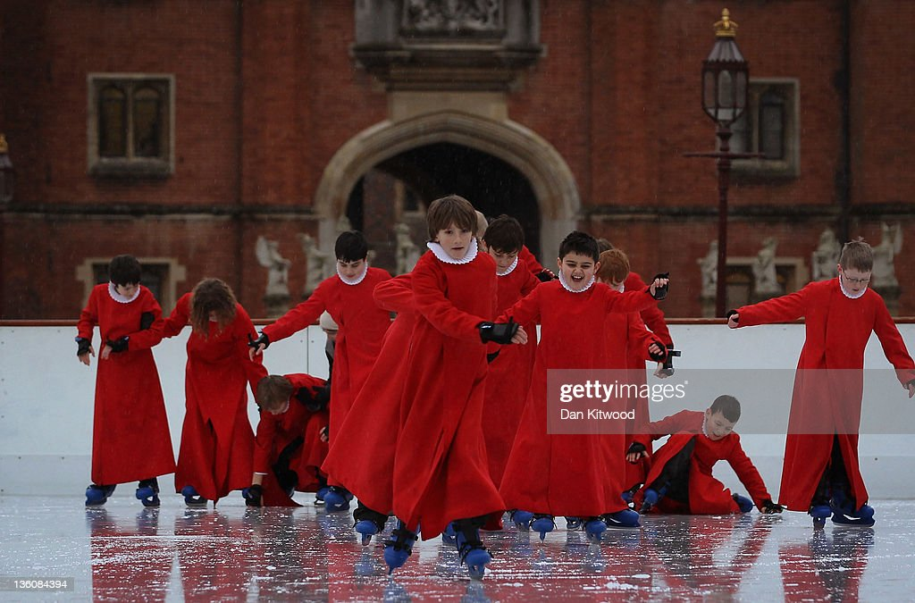 Members of Chapel Royal Choirboys choir skate during a photocall at the Hampton Court Ice Rink on December 19, 2011 in London, England. The event was aimed at highlighting a new charity, 'The Choral Foundation', which is hoping to raise £1.5M GBP to fund choir led music lessons for the choristers and the refurbishment of the historic organ in the Chapel.