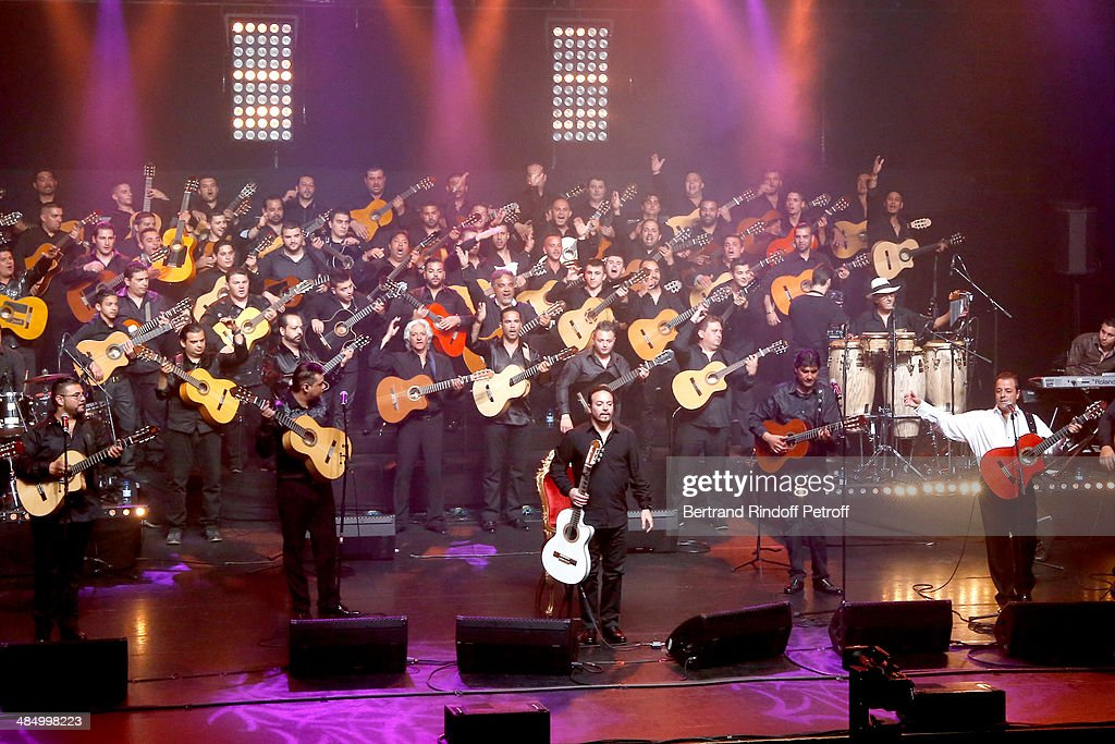 Members of 'Chico & The Gypsies' : Babato, Joseph, Kema (grandson of Manitas de Plata), Mounin and Chico (founder of the group) perform whyle their Concert with 50 gypsy guitars at L'Olympia on April 14, 2014 in Paris, France.