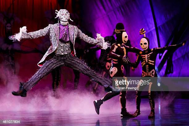 Members of Cirque Du Soleil perform the Skeleton dance during the dress rehearsal for 'Kooza' by Cirque Du Soleil' at Royal Albert Hall on January 4...