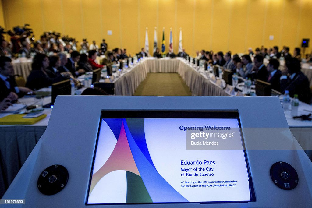 Members of COI talk during the 4th Meeting of IOC Coordination Commission for the Olympic Games at Windsor Hotel on February 18, 2013 in Rio de Janeiro, Brazil.