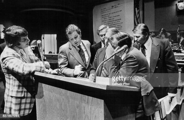 Members Of Colorado House Huddle At The Podium To Discuss Amendments Of Labor Peace Act From left Don Friedman RDenver Larry Hobbs RMorrison Ted...