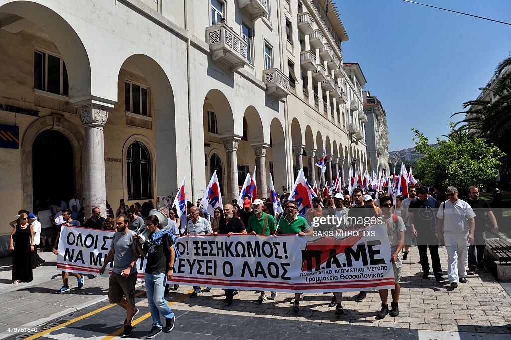 Members of Communist Party affiliated trade union PAME march against austerity in Thessaloniki on July 7 2015 as European leaders warned Greek Prime...