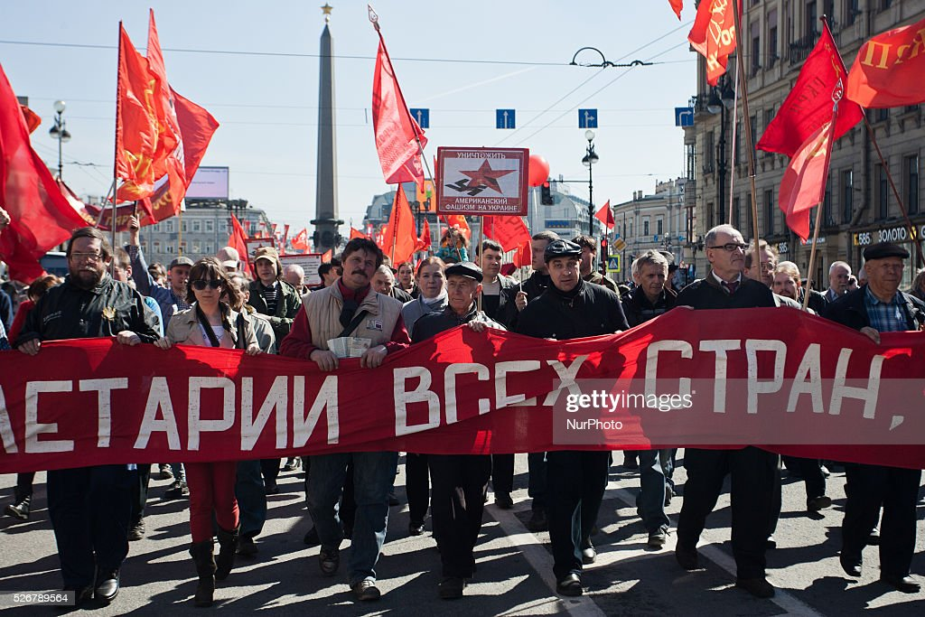 Members of communists party during May Day demonstration in Saint Petersburg, Russia 01 may, 2016