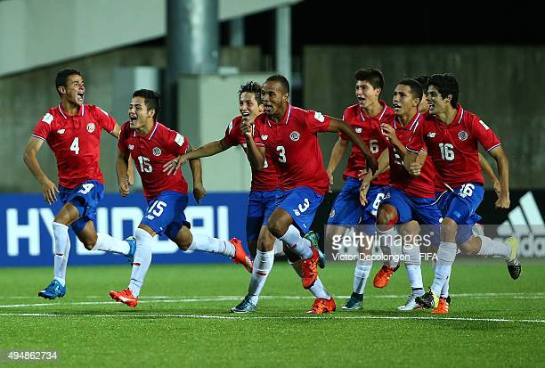 Members of Costa Rica celebrate after they defeated France 53 by penalty kick shootout in the France v Costa Rica Round of 16 FIFA U17 World Cup...