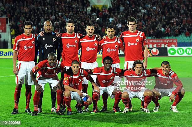 Members of CSKA Sofia football team pose before the UEFA Europa League Group L football match against Porto at Vassil Levski Stadium in Sofia on...