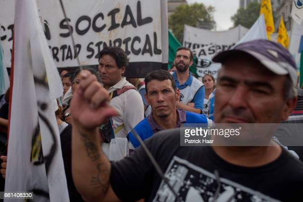 Members of CTA Central of Workers of Argentina together with political social and student organizations take part during a protest demanding more...