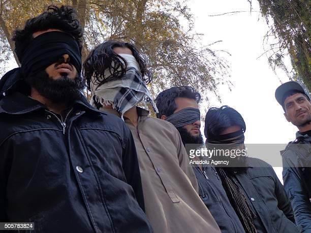 4 members of Daesh are seen unarmed as they captured by Afghan authorities in Nangarhar Afghanistan on January 20 2016