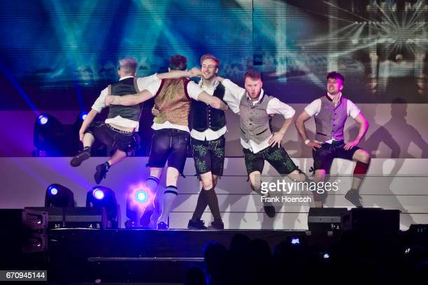 Members of Dancefloor Destruction Crew aka DDC perform live during the show 'Das grosse Schlagerfest' at the MercedesBenz Arena on April 20 2017 in...