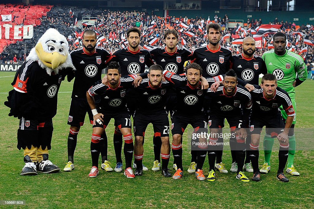 Members of D.C. United stand for the team photo before a game against the Houston Dynamo during leg 2 of the Eastern Conference Championship at RFK Stadium on November 18, 2012 in Washington, DC.
