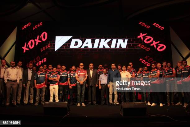 Members of Delhi Daredevils team with Kanwal Jeet Jawa Managing Director of Indian Operations Daikin Industries Ltd at a party hosted by Daikin to...