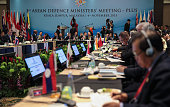 A members of deligations from 10 plus eight countries is seen inside the hall during the ASEAN defence ministers meeting plus 2015 on November 4 2015...