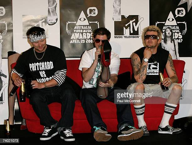 Members of Dirty Sanchez during a press conference at the third annual MTV Australia Video Music Awards 2007 at Acer Arena on April 29 2007 in Sydney...