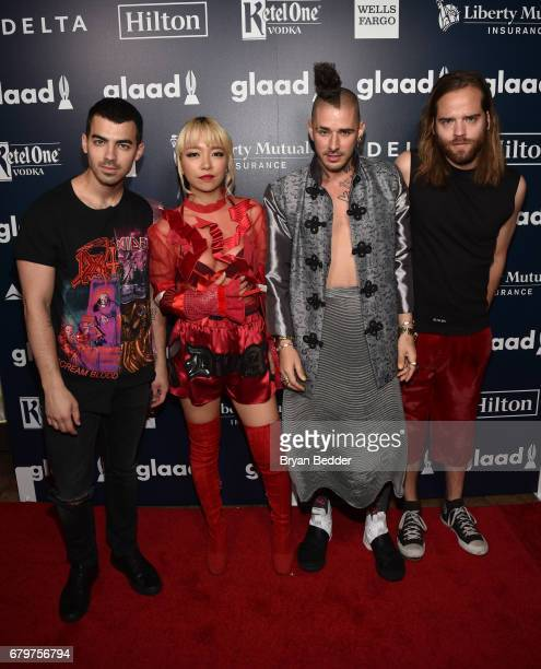 Members of DNCE Joe Jonas JinJoo Lee Cole Whittle and Jack Lawless attend 28th Annual GLAAD Media Awards at The Hilton Midtown on May 6 2017 in New...