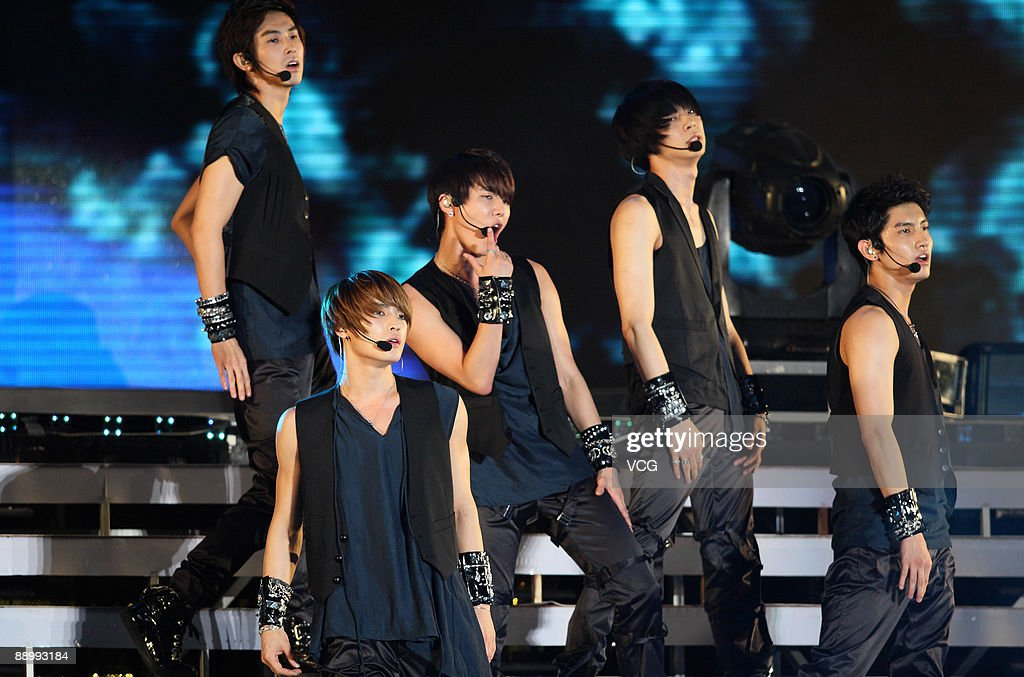 Members of Dong Bang Shin Ki perform during their concert at Beijing Worker's Stadium on July 11 2009 in Beijing China