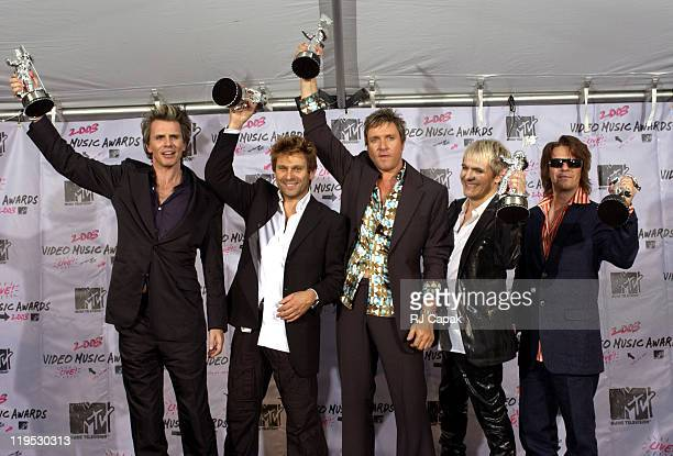 Members of Duran Duran from left Andy Taylor Roger Taylor Simon Le Bon Nick Rhodes and John Taylor pose after receiving the Lifetime Acheivement...