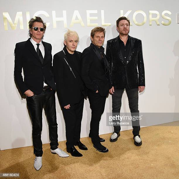 Members of Duran Duran John Taylor Nick Rhodes Roger Taylor and Simon Le Bon attend the new Gold Collection fragrance launch hosted by Michael Kors...
