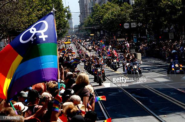 Members of Dykes on Bikes roll down Market St to kickoff the 43rd annual San Francisco Lesbian Gay Bisexual Transgender Pride Celebration Parade June...