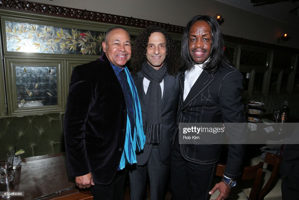 Members of Earth, Wind & Fire Ralph Johnson (L) and Verdine White (R) pose with Kenny G at the 2017 Tribeca Film Festival Opening Night Party at Tavern On The Green on April 19, 2017 in New York City.