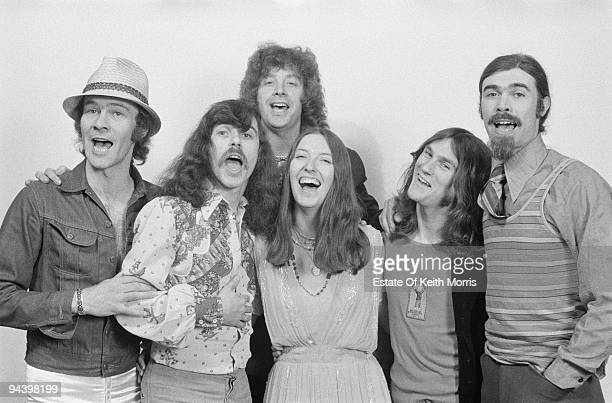 Members of electric folk band Steeleye Span circa 1977 From left to right Rick Kemp Tim Hart Bob Johnson Maddy Prior Nigel Pegrum and Peter Knight