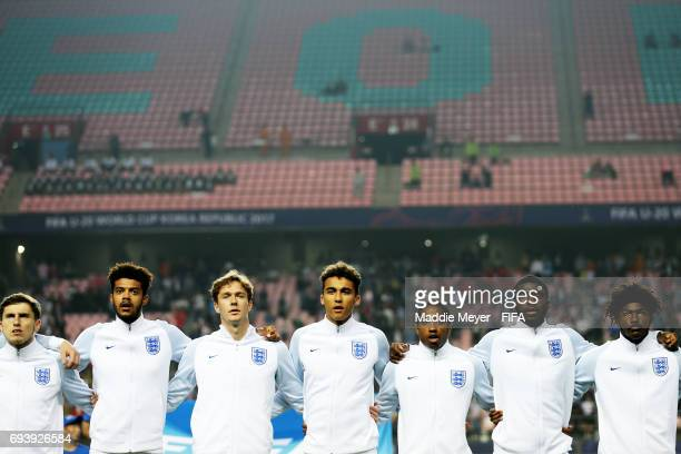 Members of England stand for their national anthem before the FIFA U20 World Cup Korea Republic 2017 Semi Final match between Italy and England at...