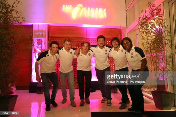 Members of England's Rugby Union Sevens players James LightfootBrown Sam Edgerley Tom Mitchell Jeff Williams Dan Bibby and Maggie Alphonsi attend the...