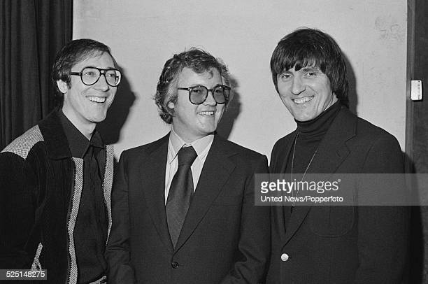 Members of English group The Shadows pictured standing together in London on 2nd February 1979 From left to right Hank Marvin Brian Bennett and Bruce...