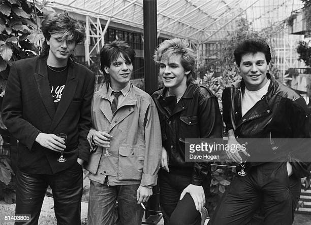 Members of English new romantic pop group Duran Duran 21st March 1983 Left to right John Taylor Andy Taylor Nick Rhodes and Roger Taylor