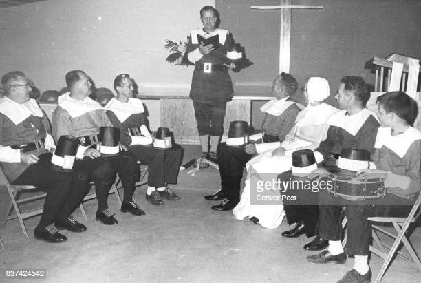 NOV 27 1963 'GOVERNOR BRADFORD' CONDUCTS SERVICE FOR 'PILGRIMS' IN CHURCH SKIT Members of Faith Congregational Church rehearse for Thanksgiving Day...