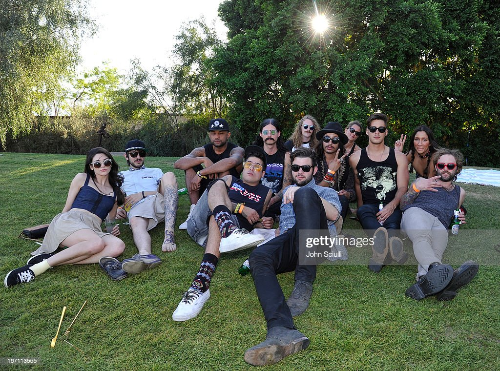 Members of Father John Misty attend the Soho House Pop Up with Bacardi during Coachella 2013 at Merv Griffin Estate on April 20, 2013 in La Quinta, California.