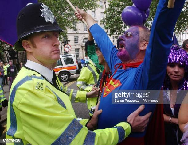 Members of 'Fathers 4 Justice' demonstrate during their march to Westminster London where they are staging a protest for more rights for fathers...