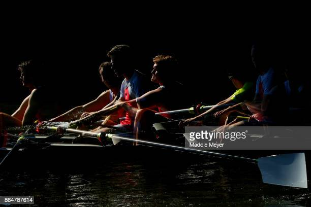 Members of Favorite Men's Club Eights team compete during the Head of the Charles Regatta on October 21 2017 in Boston Massachusetts