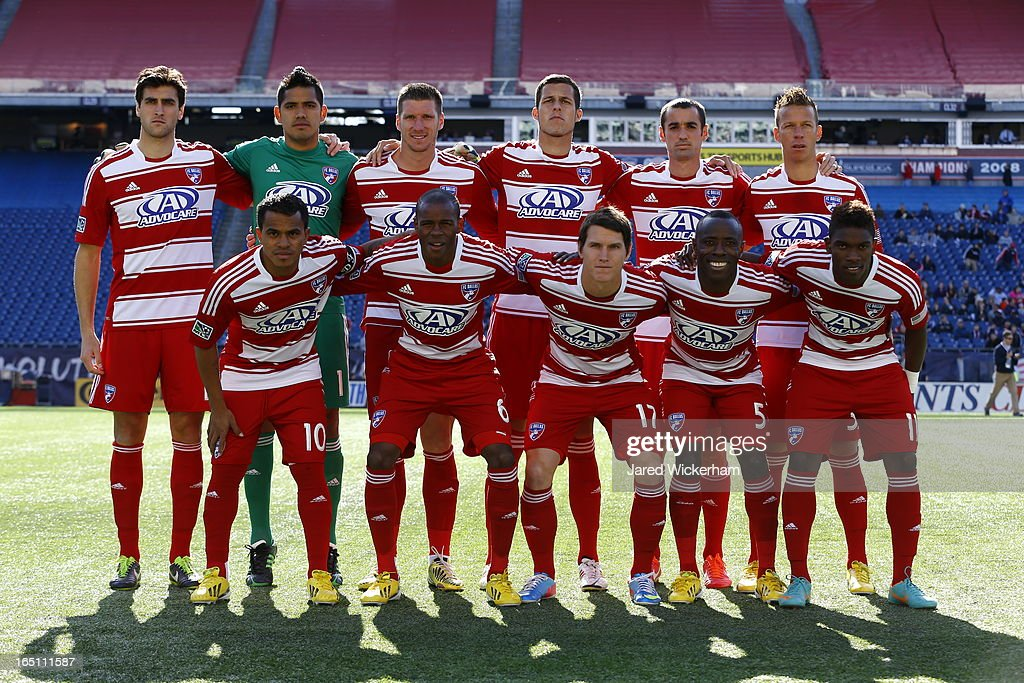 Members of FC Dallas line up for a portrait prior to the game against the New England Revolution at Gillette Stadium on March 30, 2013 in Foxboro, Massachusetts.