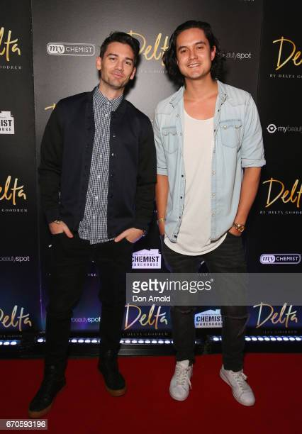 Members of Feenix Pawl pose at the launch of Delta by Delta Goodrem on April 20 2017 in Sydney Australia