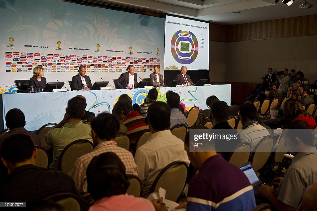 Members of FIFA and the Local Organising Comittee attend a media briefing to announce the ticketing strategy for the 2014 FIFA World Cup on July 19, 2013, in Sao Paulo, Brazil.