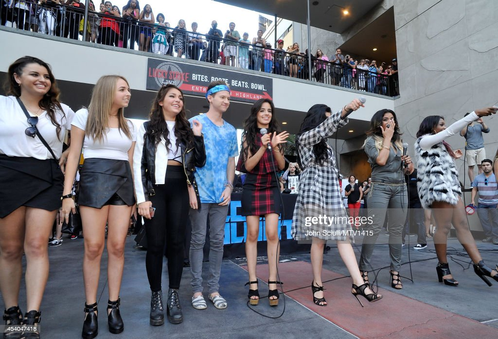 Members of Fifth Harmony and social influencers Jenn McAllister Rebecca Black Ricky Dillon Jenn McAllister and fans attend the VMA Pop Up with Fifth...