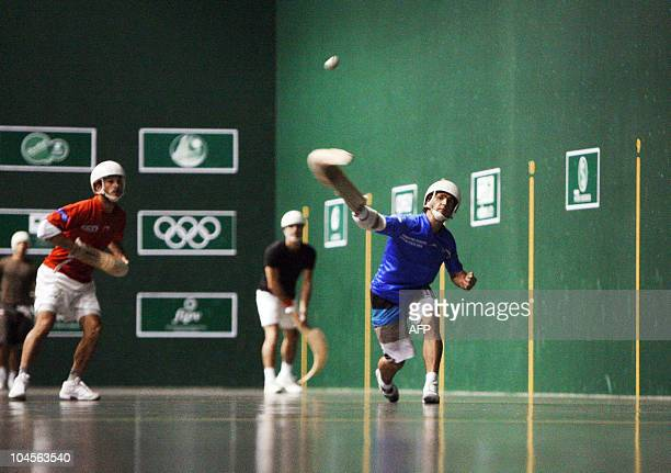 Members of France's jai alai team train in Pau on September 29 2010 in Pau southern France as part of their preparation for the world championship...